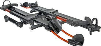 "Kuat NV 2.0 2-Bike Tray Hitch Rack: Metallic Gray and Orange, 1 1/4"" Receiver"