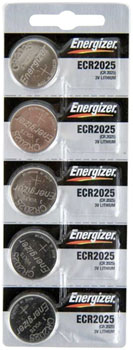 Energizer CR2025 Lithium Battery: Card of 5