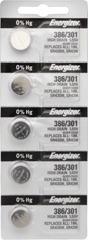Energizer 386 / 301 Silver Oxide High-Drain Battery 1.55v: Card of 5