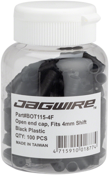 Jagwire 4mm Open Nylon End Caps Bottle of 100, Black