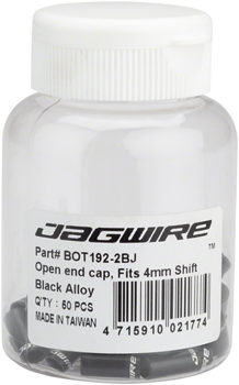Jagwire 4mm Open Alloy End Caps Bottle of 50, Black