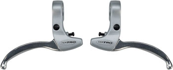 Tektro CL332RS 3-Finger Alloy Linear Pull Brake Lever Set Silver