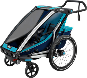 Thule Chariot Cross 1 Trailer and Stroller: Blue, 1 Child