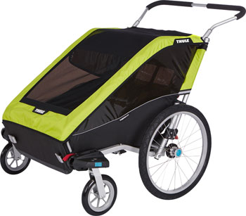 Thule Chariot Cheetah 2 Trailer and Stroller: Chartreuse, 2 Child