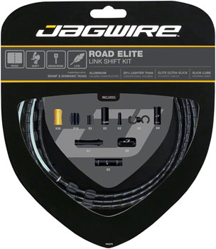 Jagwire Road Elite Link Shift Cable Kit SRAM/Shimano with Ultra-Slick Uncoated Cables, Black