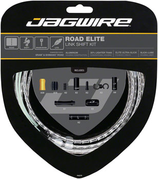 Jagwire Road Elite Link Shift Cable Kit SRAM/Shimano with Ultra-Slick Uncoated Cables, Silver