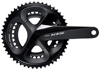 Shimano 105 FC-R7000 Crankset - 175mm, 11-Speed, 50/34t, 110 BCD, Hollowtech II Spindle Interface, Black