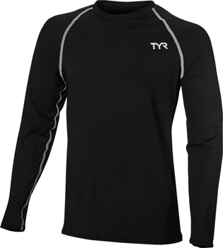 TYR Long Sleeve Men's Rashguard: Black SM
