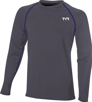 TYR Long Sleeve Men's Rashguard: Gray LG