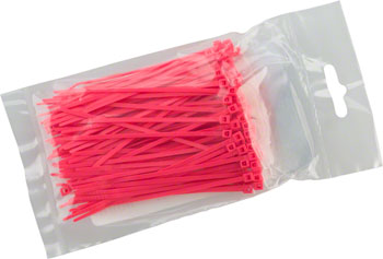 "Cobra Ties 6"" x 18lb (155 x 2.5mm) Miniature Zip Ties, Fluoresent Pink, Bag of 100"