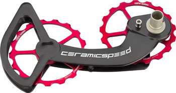 CeramicSpeed Oversized Pulley Wheel System Shimano 10- and 11-Speed, Red Alloy Pulleys and Black Carbon Cage
