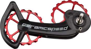 CeramicSpeed Oversized Pulley Wheel System SRAM eTap 11-Speed, Red Alloy Pulleys and Black Carbon Cage