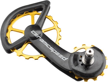 CeramicSpeed Shimano 9100/9150 8000/8050 Oversized Pulley Wheel System: Coated Bearing, Carbon Cage, Alloy Pulley, Gold