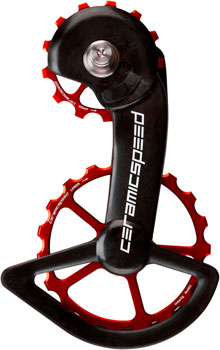 CeramicSpeed Shimano 9100/9150 Oversized Pulley Wheel System: Alloy Pulley, Carbon Cage, Red