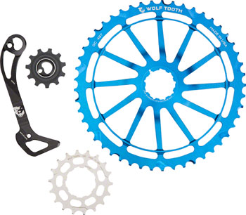 Wolf Tooth WolfCage Combo Pack: Includes 49T Cog, 18T Cog, SGS Adaptor Cage for XT8000, Blue
