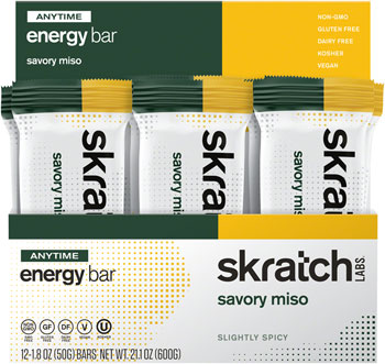 Skratch Labs Anytime Energy Bar: Ginger Miso, Box of 12