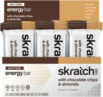 Skratch Labs Anytime Energy Bar: Almond Chocolate Chip, Box of 12