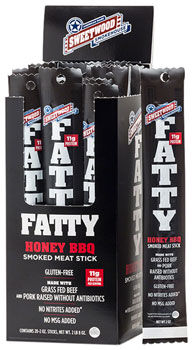 Sweetwood Cattle Co. Fatty Beef Stick: Honey Barbeque, Box of 20