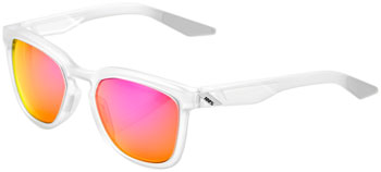 100% Hudson Sunglasses: Matte Translucent Crystal Clear Frame with Purple Multilayer Mirror Lens