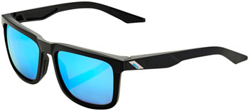 100% Blake Sunglasses: Matte Black Frame with HiPER Blue Multilayer Mirror Lens