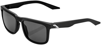100% Blake Sunglasses: Soft Tact Black Frame with Smoke Lens