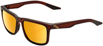 100% Blake Sunglasses: Soft Tact Rootbeer Frame with Flash Gold Lens