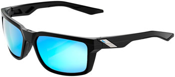 100% Daze Sunglasses: Matte Black Frame with HiPER Blue Multilayer Mirror Lens