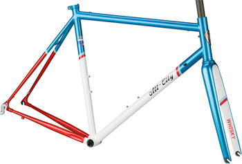All-City 46cm Mr Pink ZONA Frameset, Aqua/Red/White