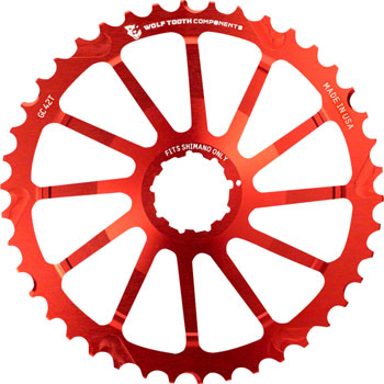 Wolf Tooth 40T GC cog for Shimano 11-36 10-speed Cassettes, Red