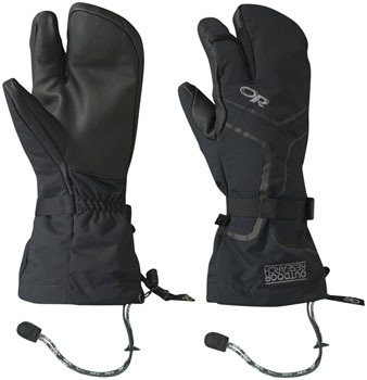 Outdoor Research Highcamp 3-Finger Gloves: Black, XL