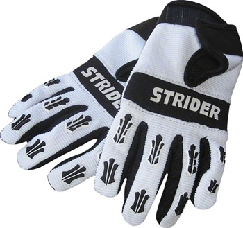 Strider Adventure Riding Gloves - White/Black, Full Finger, Youth, 4K/X-Small