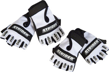 Strider Fingerless Riding Gloves - White/Black, Full Finger, Youth, Large