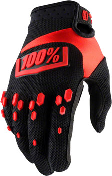 100% Airmatic Full Finger Glove: Black/Red MD
