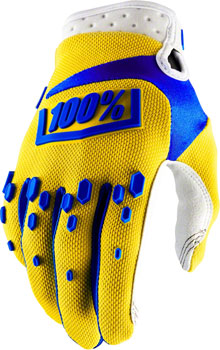 100% Airmatic Full Finger Glove: Yellow MD
