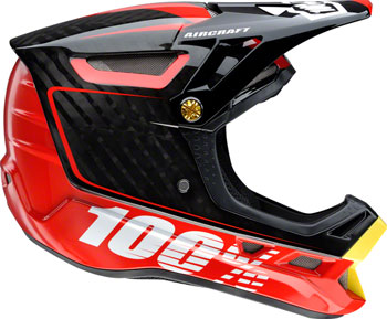 100% Aircraft Carbon Full-Face Helmet, Bi-Turbo Red, XS (53-54cm)