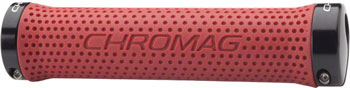Chromag Basis Grips: Red Grips, Black Clamps