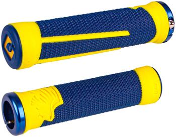 ODI AG2 Grips - Blue, Cyber Yellow, Lock-On