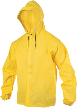 O2 Rainwear Hooded Rain Jacket with Drop Tail: Yellow LG