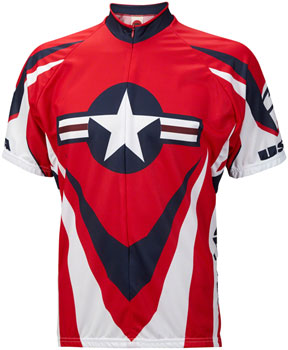 World Jerseys USA Ride Free Jersey - Red/White/Blue, Short Sleeve, Men's, Medium
