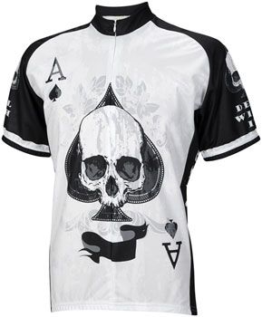 World Jerseys Deal with It Ace of Spades Men's Cycling Jersey: White/Black, 2XL