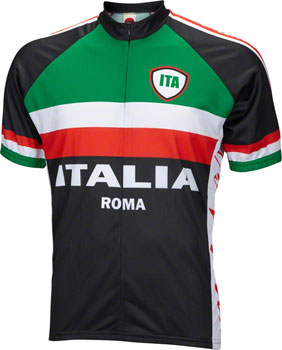 World Jerseys Italia Jersey - Black, Short Sleeve, Men's, 2X-Large