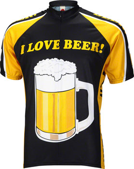 World Jerseys I Love Beer Men's Cycling Jersey: Black/Gold, 2XL