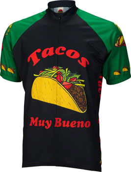 World Jerseys Taco Tuesday Men's Cycling Jersey: Black/Green, MD