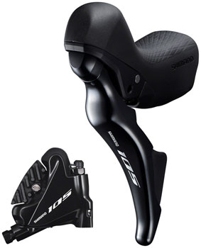 Shimano 105 ST-R7025 Left Short Reach Double Hydraulic Brake/Shift Lever with BR-R7070 Front Flat Mount Caliper and Fork Adaptor