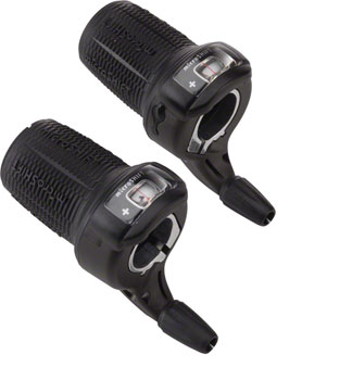 microSHIFT Double/Triple 8-Speed Twist Shifter Set, Gear Display, Shimano Compatible, Black