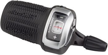microSHIFT DS85 Twist Shift 3-Speed Left Shifter with Optical Gear Indicator, Shimano Compatible