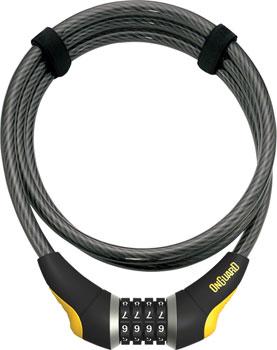 OnGuard Akita Resettable Combo Cable Lock: 6' x 10mm, Gray/Black/Yellow
