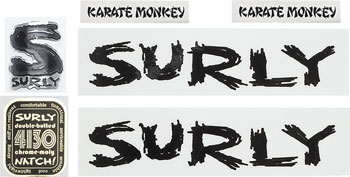 Surly Karate Monkey Frame Decal Set with Headbadge: Black