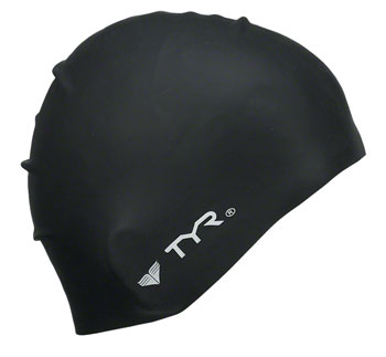 TYR Wrinkle-Free Silicon Swim Cap: Black