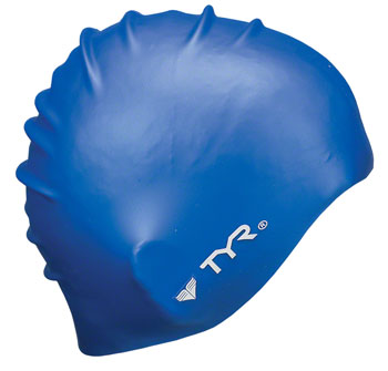 TYR Wrinkle-Free Silicon Swim Cap: Blue